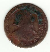 Louis Xiii 1638 Copper Double Tournois Stars And Dots Under Bust