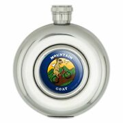 Mountain Goat Biking Funny Humor Round Stainless Steel 5oz Hip Drink Flask