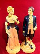 Pair Of Vintage Plaster Chalk Figurine Statues Of Victorian Man And Woman Couple