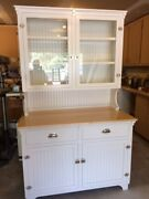 Newly Handcrafted Hoosier Cabinet Done In Warm Antique White Oil Enamel