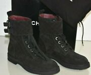 New Quilted Black Suede Lace Up Combat Flat Moto Short Boots Shoes 36.5