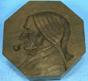 7 Antique Swiss Black Forest Wood Carving Humidor Box Man Smoking Pipe Relief