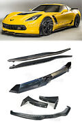 14-up Corvette C7 Carbon Flash Spoiler With Carbon Fiber Front Lip And Side Skirts