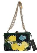 New 6800 Dolce And Gabbana Bag Vanda Floral Embroidered Crystal Leather Purse