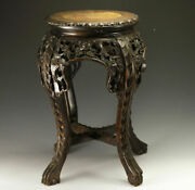 Antique Chinese Handcarved Stool Or Plant Stand - Deeply Carved Legs
