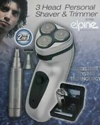 New Men Personal Rotary Shaver Rechargeable Cordless 3 Head Nose Ear Trimmer
