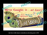 Old Large Historic Photo Of Life Savers Lollies Spear-o-mint Advertising C1940