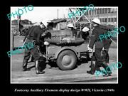 Old Large Historic Photo Of Footscray Vic Auxiliary Fireman Display Wwii 1940s