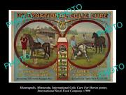 Old Large Photo Of Minneapolis Food Co Poster Horse Medicine Colic Cure 1900 2