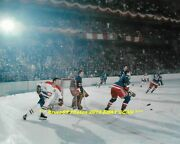 Jean Beliveau Chases Puck Vs Rangers At Old Msg 8x10 Photo Montreal Canadiens@@
