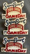 3 Superbowl Card Show/gameday Collectable Pins