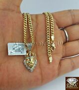 10k Gold And Diamond Lionand039s Head Charm With 28 Inch Miami Cuban Chain Men Real.