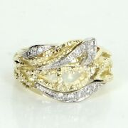 Cigar Diamond Ring Wide Band Vintage 14k Yellow Gold Estate Fine Jewelry Sz 9