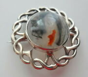 Antique Mark Scottish Cabochon Moss Agate Sterling Silver Celtic Knot Pin Brooch