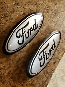 2015-17 Ford F150 Front And Rear Emblem Custom Matte Black And Ingot Silver 9.5