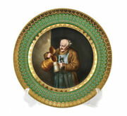 Royal Vienna Hand Painted Cabinet Plate, Cheerful Drinking Monk, Late 19th C