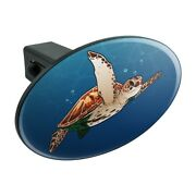 Sea Turtle Swimming In Ocean Oval Tow Trailer Hitch Cover Plug Insert