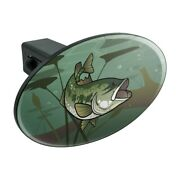 Bass Fish Swimming In River Oval Tow Trailer Hitch Cover Plug Insert