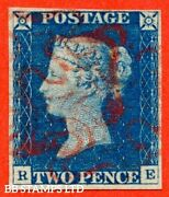 Sg. 5. D1 2 Uf. Ds5. Re . 2d Blue. Plate 1. A Very Fine Used Example B32658