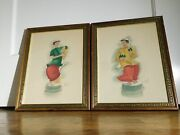 Original Vintage Pair Of Asian Watercolor Paintings Girl And Boy Signed