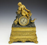 Gilt And Patinated Bronze Mantle Clock - Seated Man On Rocky Crag19th Century