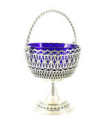 Silver Reticulated Basket With Cobalt Blue Glass Insert With Hallmark