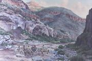 Tom Phillips American 1927-2005 Watercolor Painting Indians In Landscape