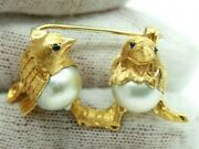 Vintage Retro 18k Yellow Gold Two Small Sparrow Birds Pearl-sapphire Pin Brooch