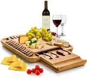 Cheese Serving Board Cutlery Set Party Appetizer Service 100 Natural Bamboo