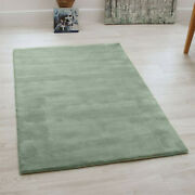 Aran Duck Egg Blue Hand Woven Thick Wool Rugs Large Viscose Living Room Rug