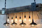 Reclaimed Barn Beam Chandelier With 4 Pendants And 8 Sockets. 12 Total Lights