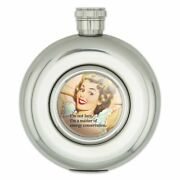 Not Lazy Master Of Energy Conservation Round Stainless Steel 5oz Hip Flask