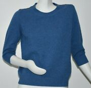 2200 New Sweater 6 Cc Buttons Sweater Pure Cashmere Blue Pullover 42
