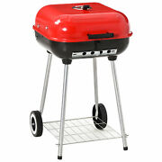 19andrdquo Steel Porcelain Portable Outdoor Charcoal Barbecue Grill W/ Wheels