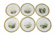 Qty 6 James Green And Nephew Hand Painted Scenic Jeweled Cabinet Plates, 19th C