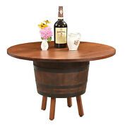 Amish Rustic Round 48 Whiskey Barrel Dining Table Solid Wood Top Game Room
