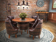 Amish Rustic 5 Pc Whiskey Barrel Dining Set Table Chairs Solid Top Game Room