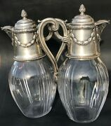 Antique Pitcher Wine Decanter Glass French Silver Sterling In Pair