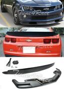 For 10-13 Camaro Ss Front Bumper Lip And Rear Truck Spoiler Zl1 Package Style Abs