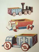 Folk Toy Antique Print Stone Lithograph French Matted, Cars And Trains No Repro