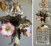 Swag Vintage Lamp Chandelier Capodimonte Lily Forest Fairy Flower Brass Porcelai