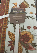 Napa Style Jacobean Floral Rust Terra Cotta Gold Olive Beige 60x120 Tablecloth