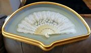 Lace Sequin Hand Painted With Daisyand039s Mother Of Pearl Gold Framed Chinese Fan