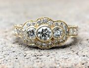 Antique Art Deco 14k Yellow Gold 1.81tcw Vs Diamond Engagement Etched Ring