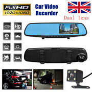 4.3and039and039 Hd Dual Lens Car Dvr Dash Cam Front And Rear Mirror Camera Video Recorder