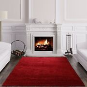 Drift Red Wine Thick Soft Simple Affordableable Non Shed Shaggy Living Room Rugs