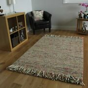 High End Vibrant Terracotta Orange And Green Soft Thick Fringed Wool Rug 4and039 X 5and0396