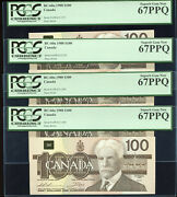 Lot Of 4 Consecutive - 1988 Bank Of Canada 100 - Pcgs Gem New 67 Ppq