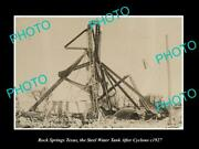 Old Postcard Size Photo Of Rock Springs Texas The Water Tank After Cyclone 1927