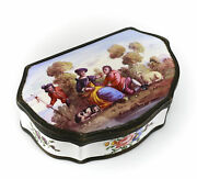 Continental Porcelain Trinket Box W/ Patinated Bronze Hinges 18th-19th Century